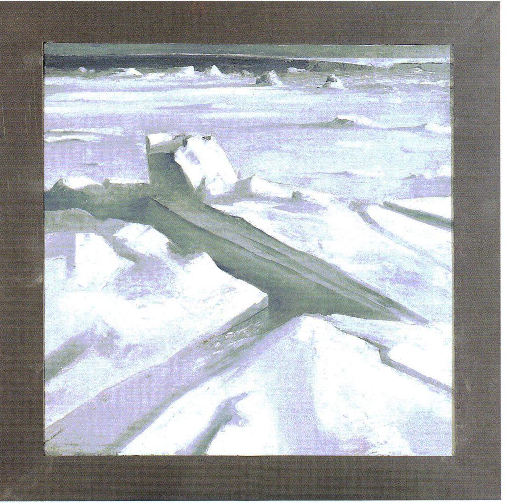 74º 49´La - Norte, 31º 50´Lo - Este. serie Geografía- óleo sobre tela - 100 x 100 cm- 2000- Jaime Sánchez