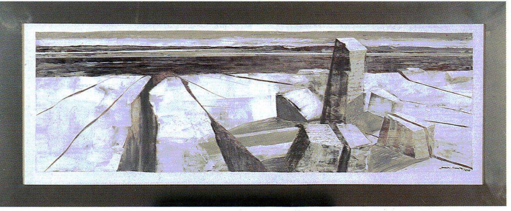 71º 15´ La - Norte, 70º 10´ Lo - Este. serie Geografía- óleo sobre tela- 154 x 64 cm- 1999- Jaime Sánchez
