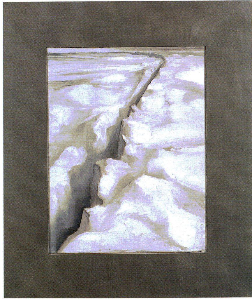 90º 2´ La - Norte, 10º 38´ Lo - Oeste. serie Geografía---óleo sobre tela- 43 x 51 cm - 1999- Jaime Sánchez