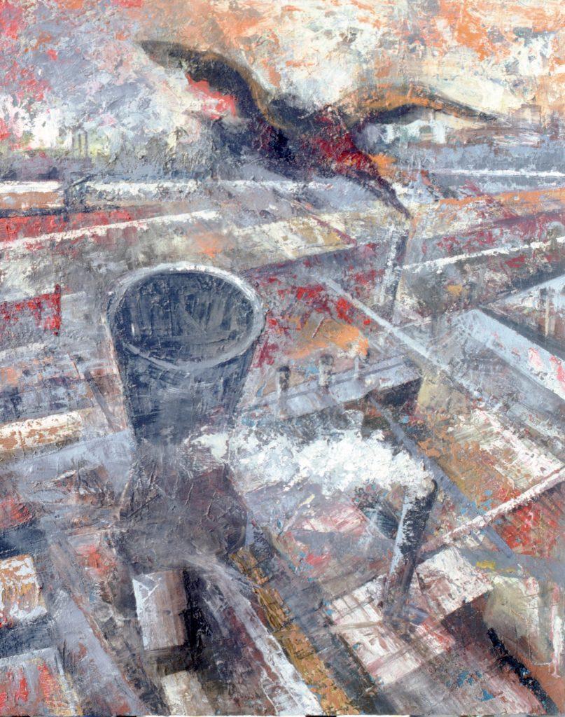 A vista de pájaro- técnica mixta- sobre tela- serie Factorías-Jaime Sánchez- 1986