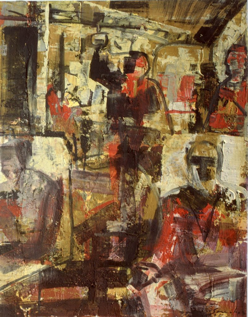 El autobús- pintura- técnica mixta- sobre papel- Factorías-Jaime Sánchez- 1986