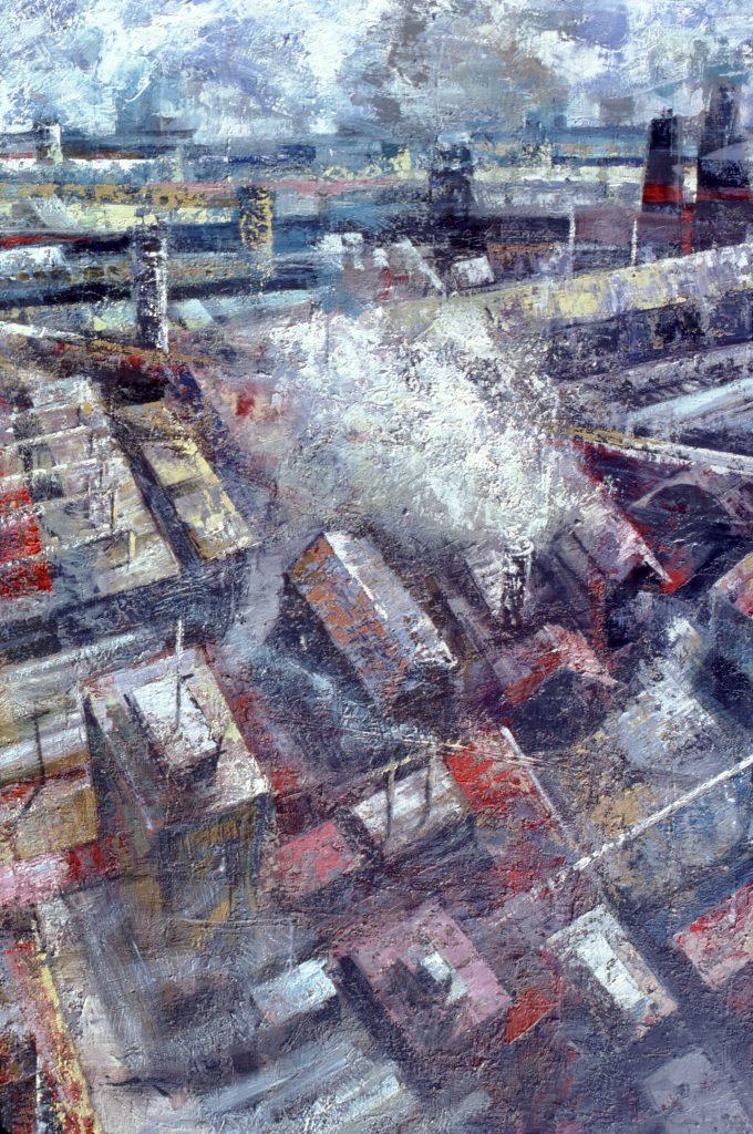 Factorías- - pintura- técnica mixta- sobre tela- serie Factorías-Jaime Sánchez- 1986