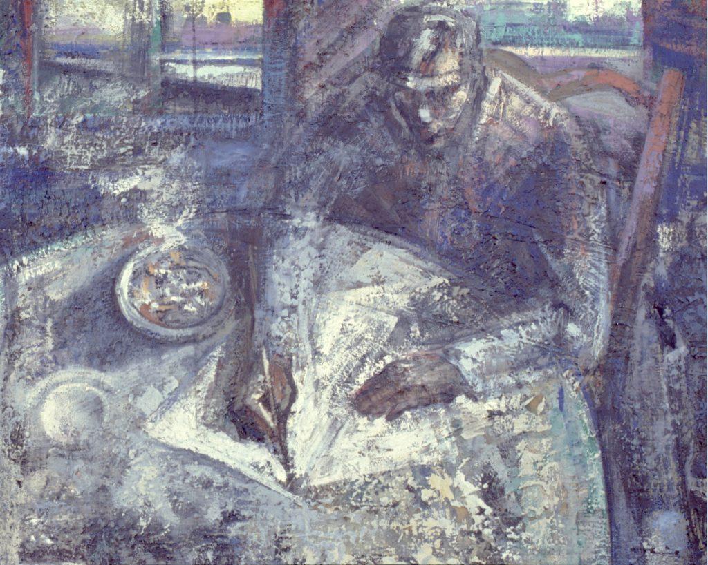La carta- pintura técnica mixta- sobre tela- serie Factorías-Jaime Sánchez- 1986