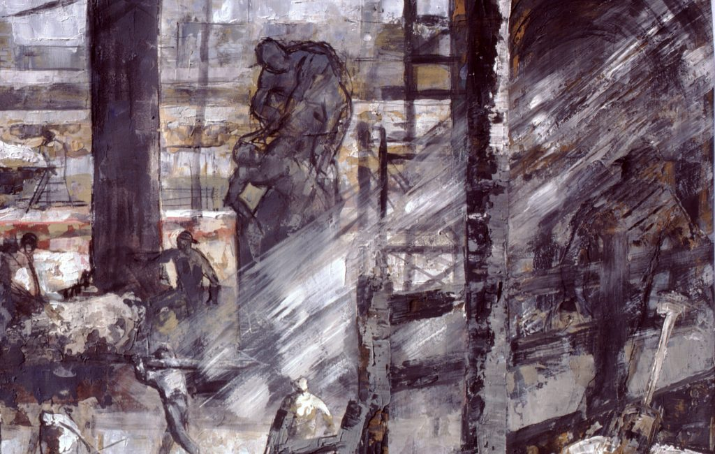 La estatua- pintura -técnica mixta- sobre papel- serie Factorías-Jaime Sánchez- 1986