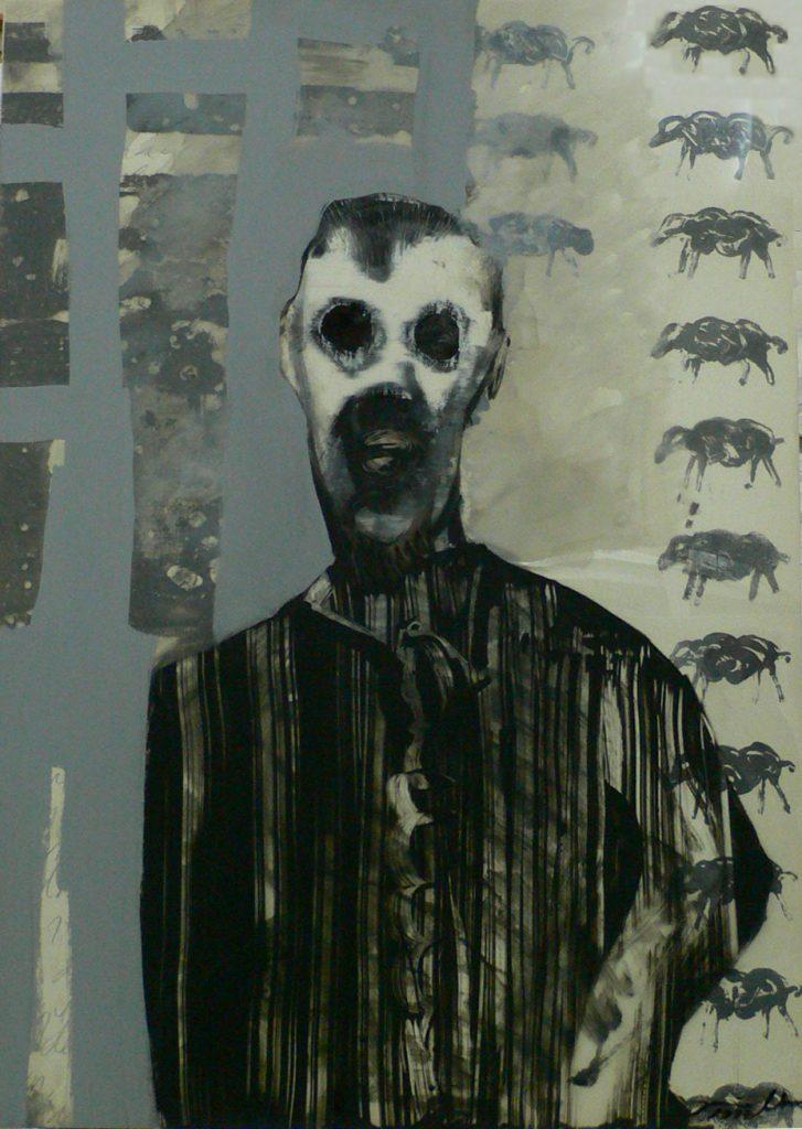 El silencio de los corderos - pintura - serie Asesinos - Acetato y pintura esmalte - 100 x 70 cm - Jaime Sánchez - 1997